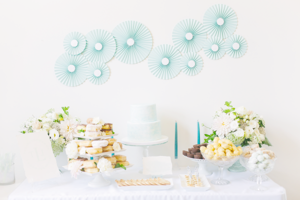 water color bridal shower buffet decoration ideas