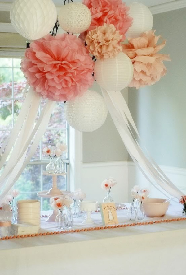 white pink and coral indoor bridal shower decorations for 20132014