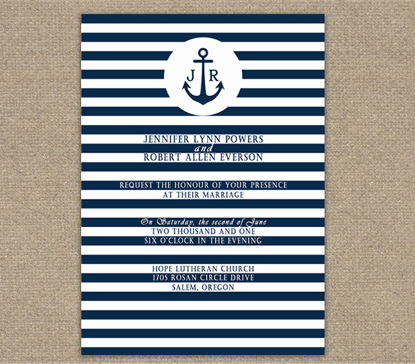2014 navy blue stripes nautical and beach wedding invitations online