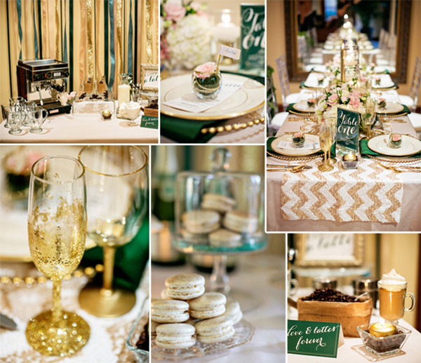 2014 trending gold and green chevron wedding ideas