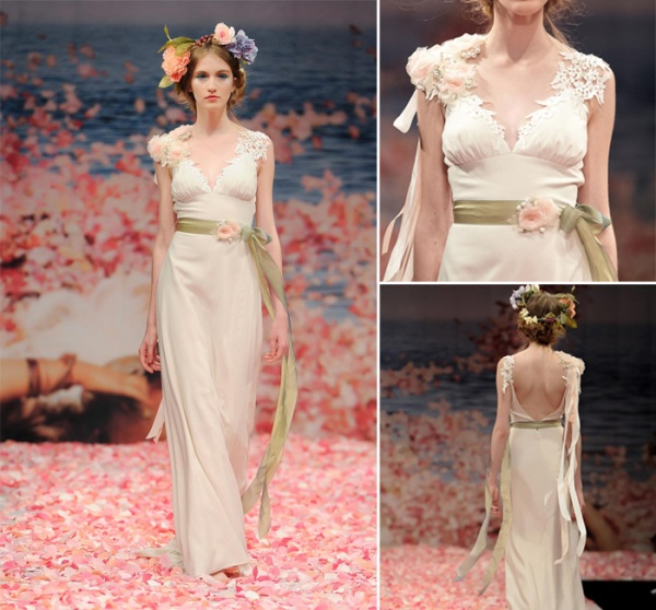 Claire Pettibone Deep V Neck backless arcadian lace long wedding dresses with green ribbons and pink floral