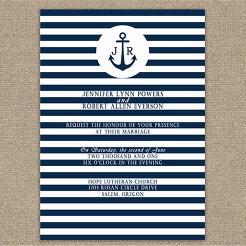 Striped Nautical Navy Blue Wedding Cards