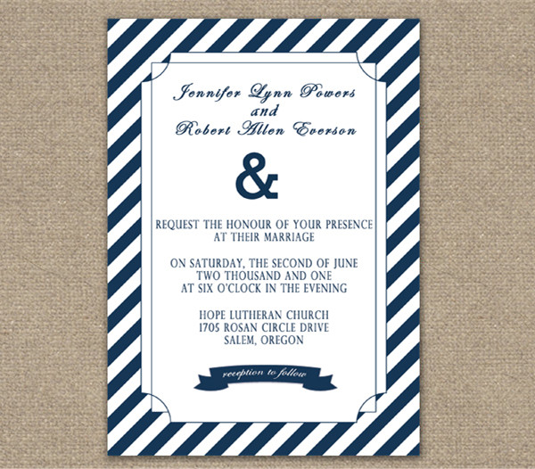 cheap stripes navy blue nautical wedding invitations