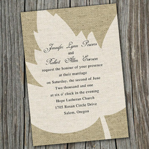 fall maple leaves burlap cheap wedding invitation online