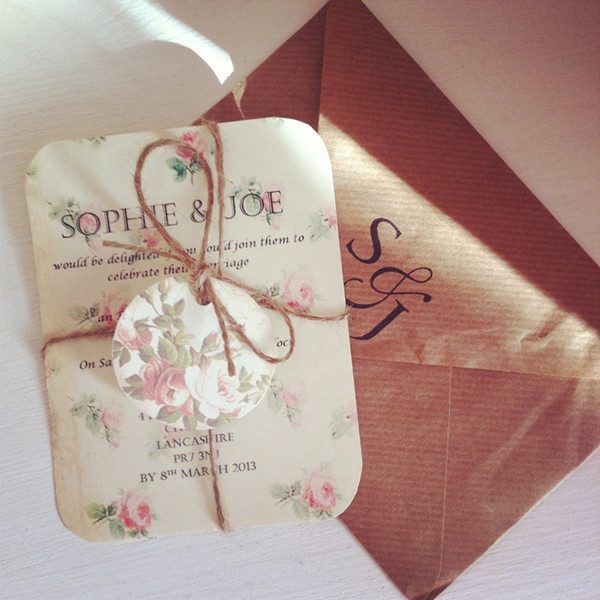 floral vintage wedding invitations with burlap rope decorations for 2014