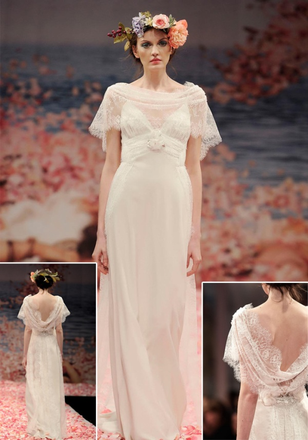 ivory linen iridescent streamers with floral embellishments long vintage lace wedding dresses