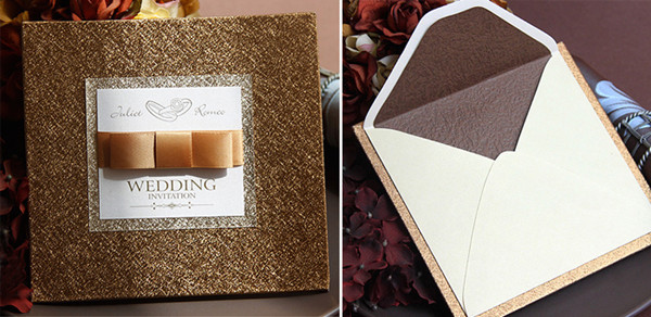 modern luxury gold and brown damask  wedding invitations with hint of sparkle