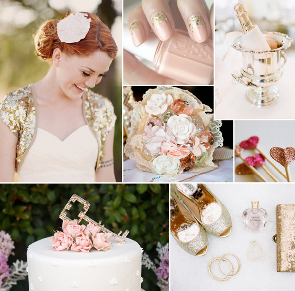 modern pink and gold sparkle wedding ideas 2014