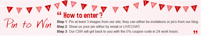 pin to win for elegantweddinginvites.com