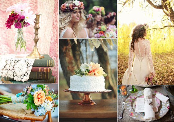 romantic floral boho wedding ideas and wedding dresses
