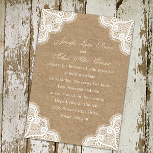 rustic lace and burlap wedding invitations online