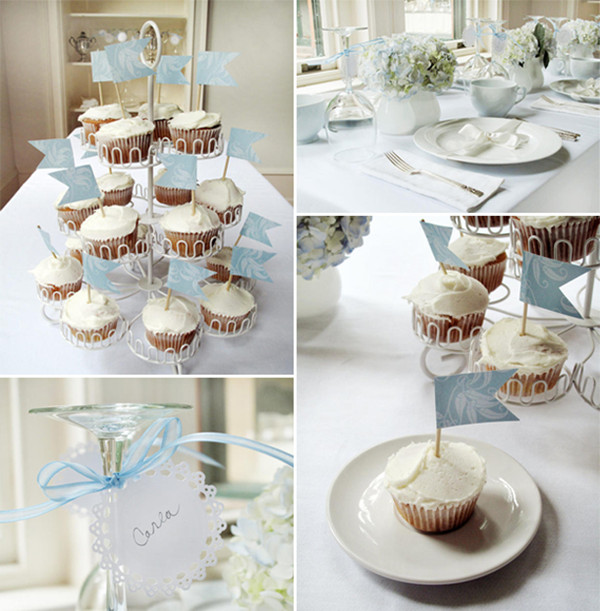 traditional white and blue bridal shower brunch ideas 2013 2014