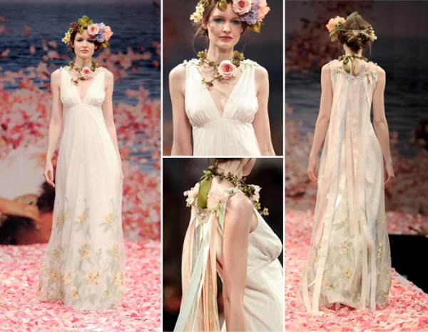 vintage Iridescent green lace pastel ribbons embellished back long boho arcadian wedding dresses