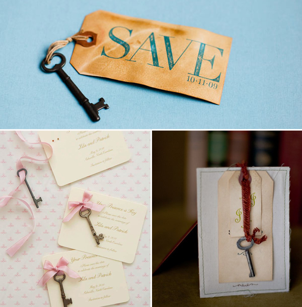 vintage key and tag diy save the date ideas