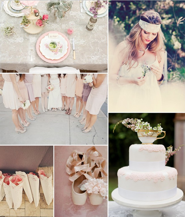 vintage pink wedding ideas with lace decorations 2014