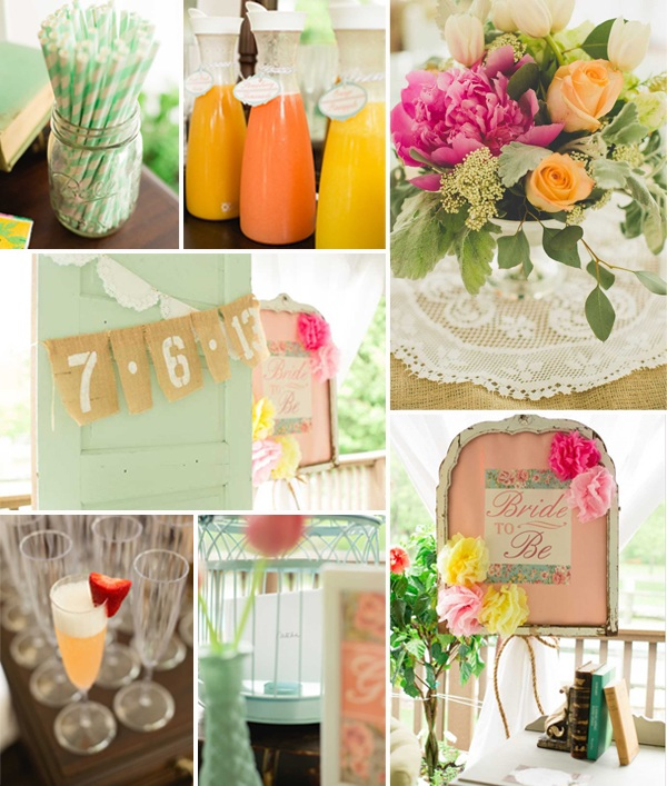 2014 mint pink and orange rustic vintage bridal shower ideas