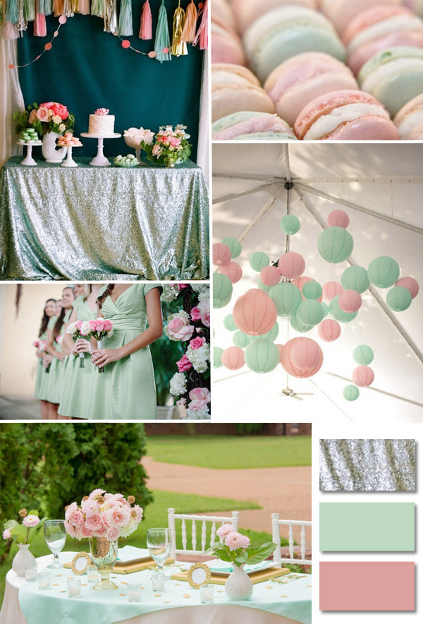 2014 trending pink and mint wedding ideas with sequins decorations
