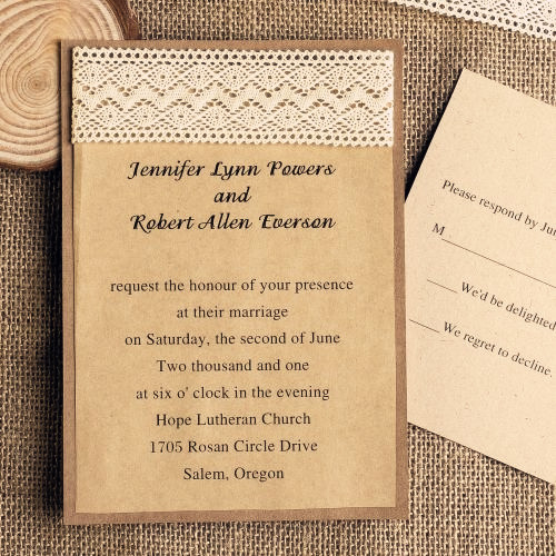 DIY Lace Wedding Invitations Starting from 179 at