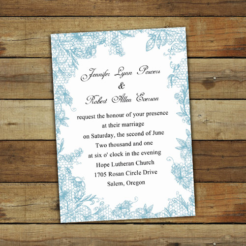 Dusty Blue Lace Printed Wedding Invites