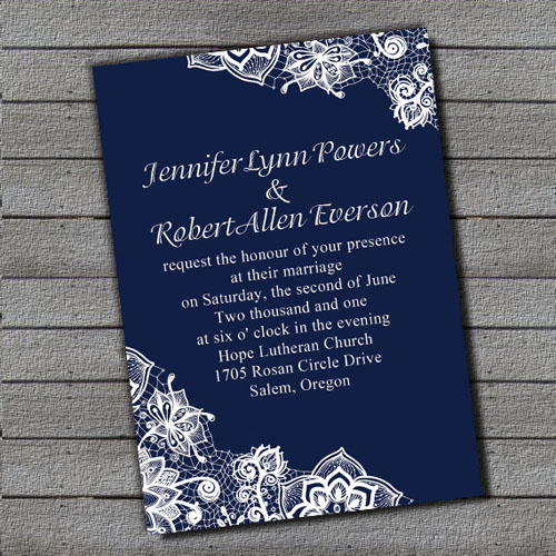 Exquisite Royal Blue Lace Wedding Invitation