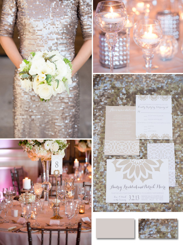 champagne sequins neutral color wedding ideas for fall 2014