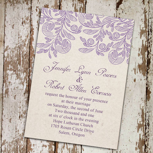 Fabric Inspired Lavender Wedding Invitations