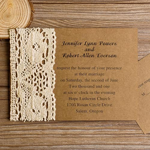 Awesome Rustic Lace Country Wedding Invitations Affordable