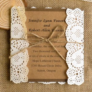 Rustic Paper Lace Wedding Invitations