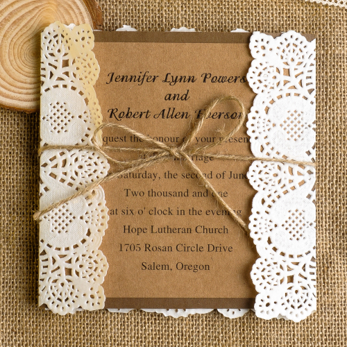 Lace and Burlap Wedding Invitations 2014