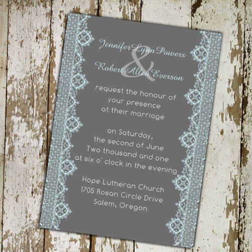 Blue and Gray Vintage Lace Wedding Invitations