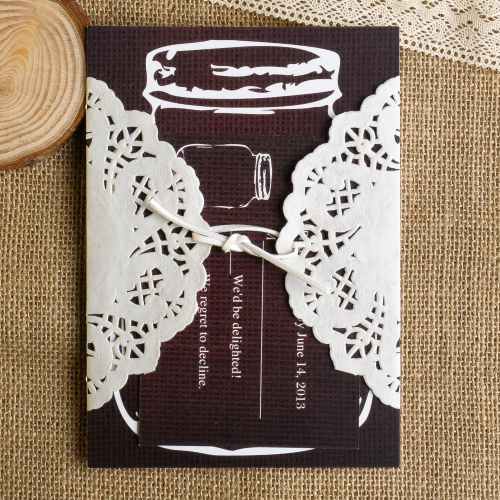 Rustic Mason Jar and Lace Ribbon Tied Wedding Invitaitons
