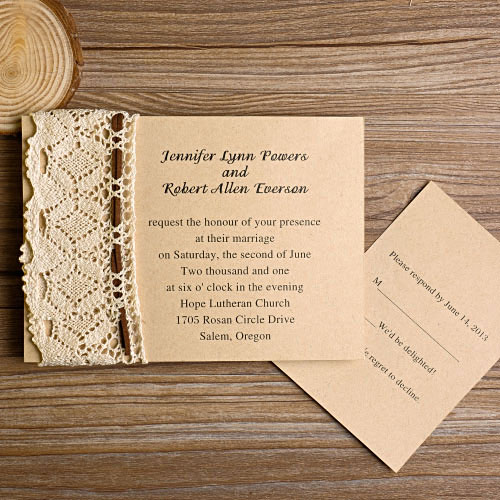 Lace Rustic Country Wedding Invitations