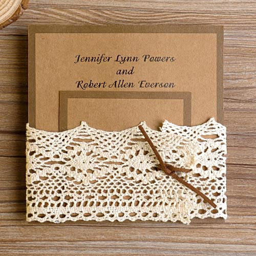 Rustic Simple But Elegant Lace Pocket Wedding Invitaitons