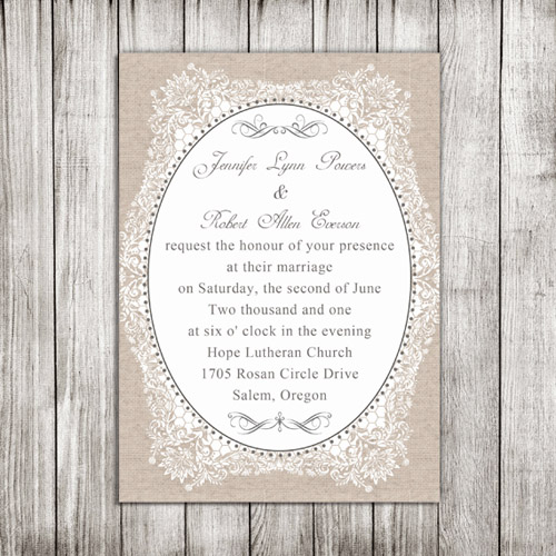 Vintage Lace and Burlap Printed Wedding Cards