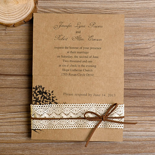 Country Rustic Lace Wedding Invitations