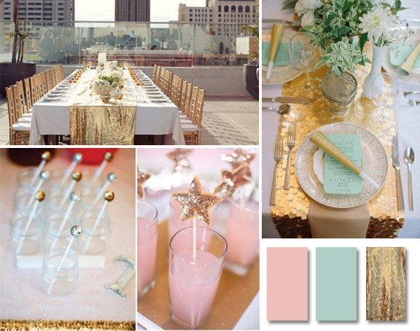 mint pink and gold sequins wedding color ideas 2014 trends