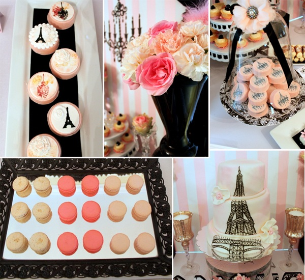 pink and black vintage parisian brial shower ideas 2014