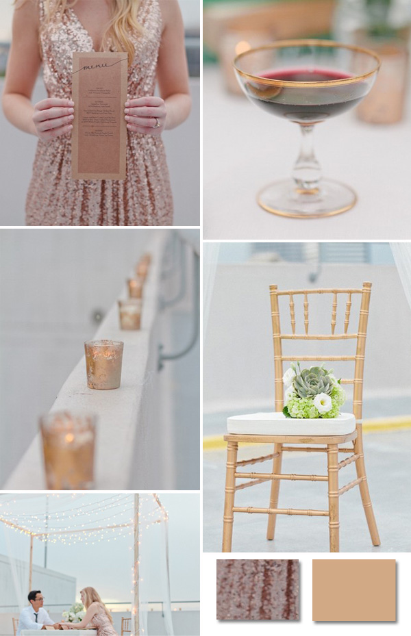 pink and gold with sequins dresses wedding ideas 2014