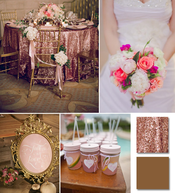 pink and gold with sequins wedding color ideas 2014