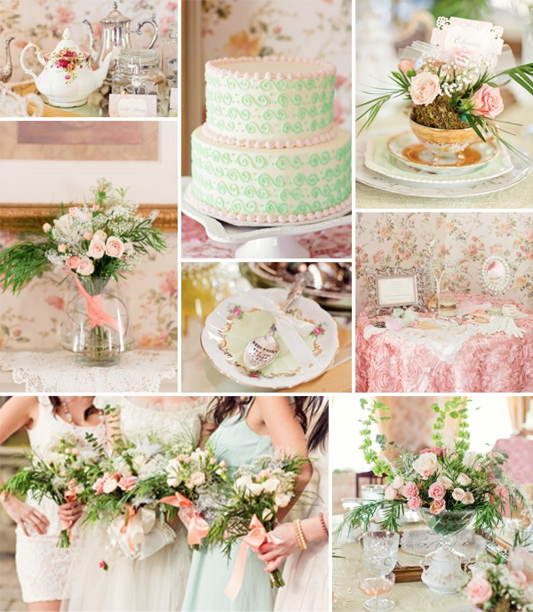 pink and mint vintage tea party brial shower ideas 2014