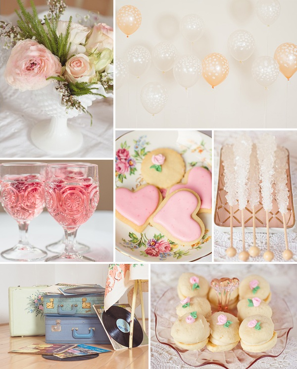 pink blush vintage bridal shower ideas with balloon decorations 2014 trends