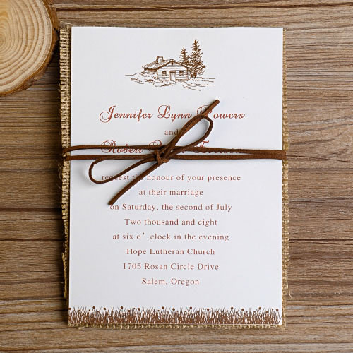 Country Rustic Burlap Wedding Cards