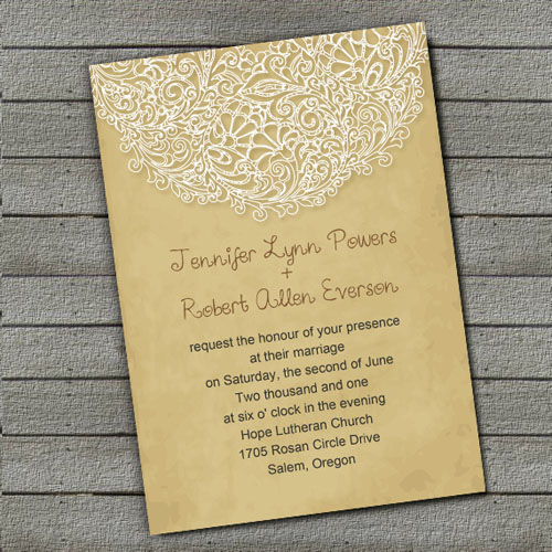 Country Rusitc Printed Lace Wedding Invitations