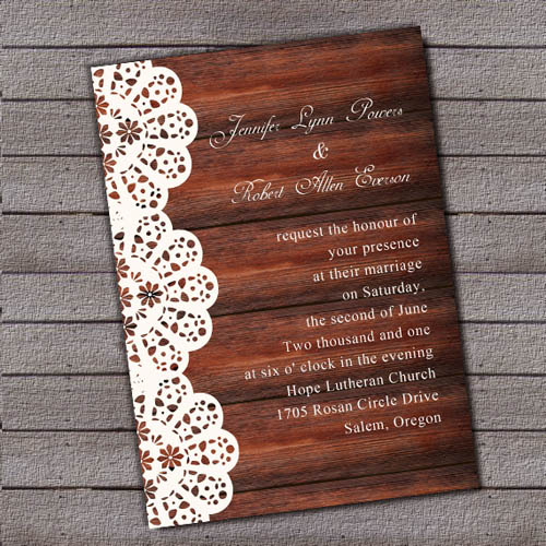 Vintage Wooden Background Lace Printed Wedding Invitations