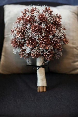 Christmas inspired pinecone and silver wedding bouquets ideas