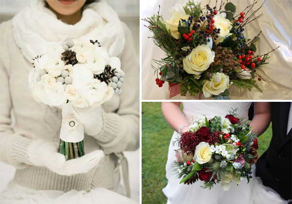 Christmas inspred wedding bouquets ideas for winter weddings