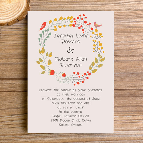 Floral Boho Themed Wedding Invitations