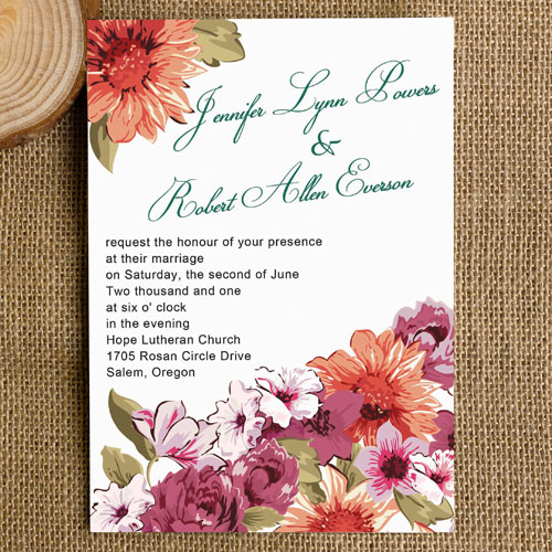 Country Themed Floral Wedding Invitations