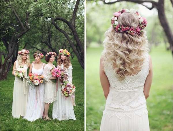 boho wedding dresses with floral crown for bohemian wedding theme ideas