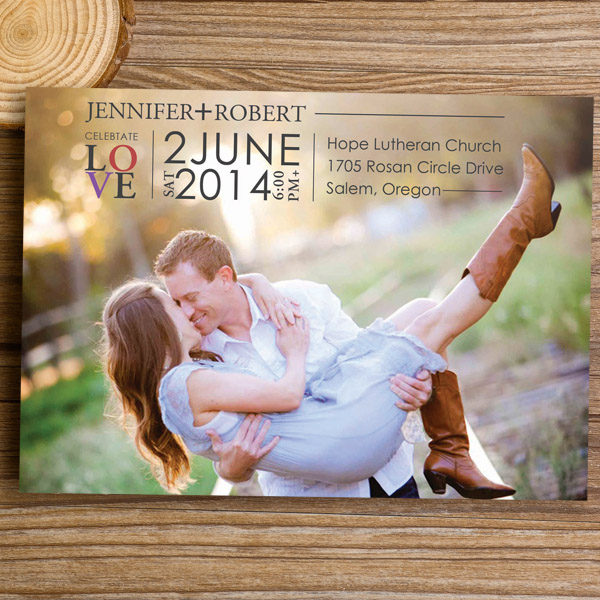 Engagement Photo Country Wedding Invitations